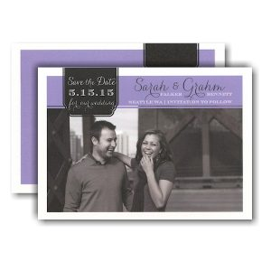Elegant Tag on Purple Photo Save the Date Card Icon