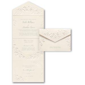 Embossed Greenery in Ecru Seal 'n Send Wedding Invitation