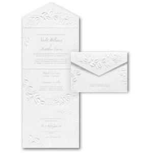 Embossed Greenery in White Seal 'n Send Wedding Invitation