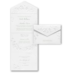 Embossed Greenery in White Seal 'n Send Wedding Invitation Icon
