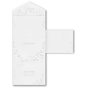 Embossed Greenery in White Seal 'n Send Wedding Invitation alt