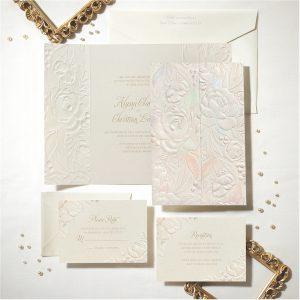Enchanted Blooms in Ecru Wedding Invitation alt