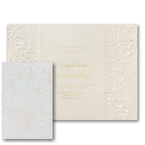 Enchanted Blooms in Ecru Wedding Invitation