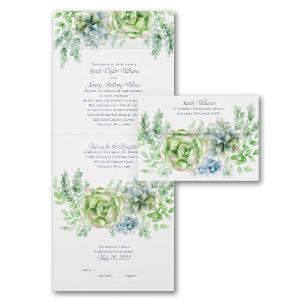 Enchanted Watercolor Seal 'n Send Wedding Invitation
