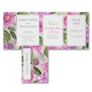 Exotic Orchids All in One Wedding Invitation