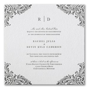 Exquisite Flourish Letterpress Wedding Invitation Icon