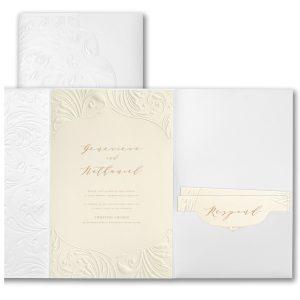Extravagant Flourishes in Ecru Wedding Invitation Icon