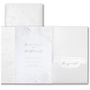 Extravagant Flourishes in White Wedding Invitation Icon