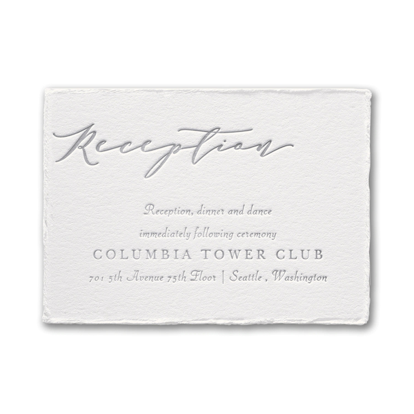 Feather Deckle in Pearl Reception Card