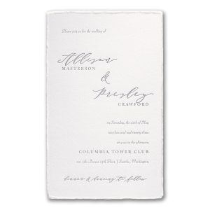 Feather Deckle in Pearl Wedding Invitation Icon