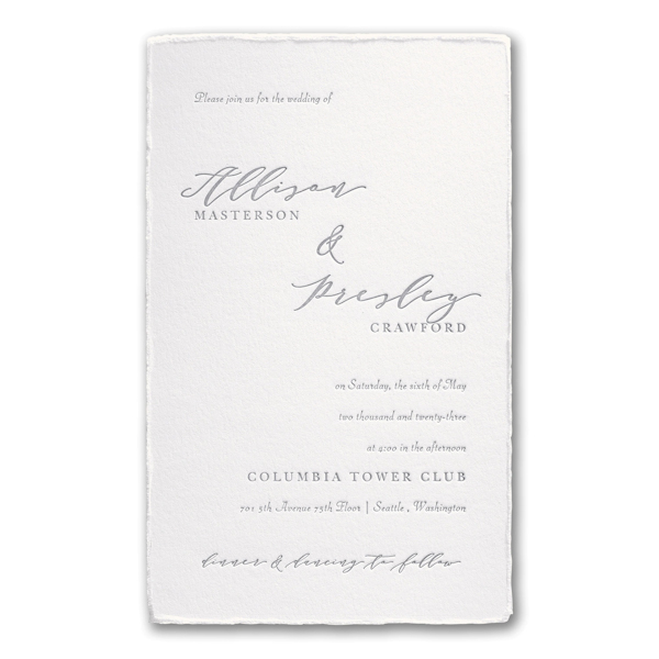 Feather Deckle in Pearl Wedding Invitation