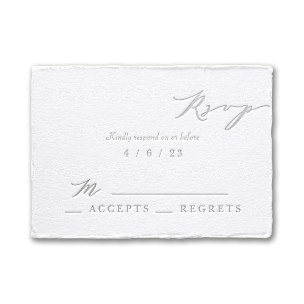 Feather Deckle in White Response Card