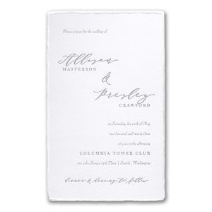 Feather Deckle in White Wedding Invitation Icon