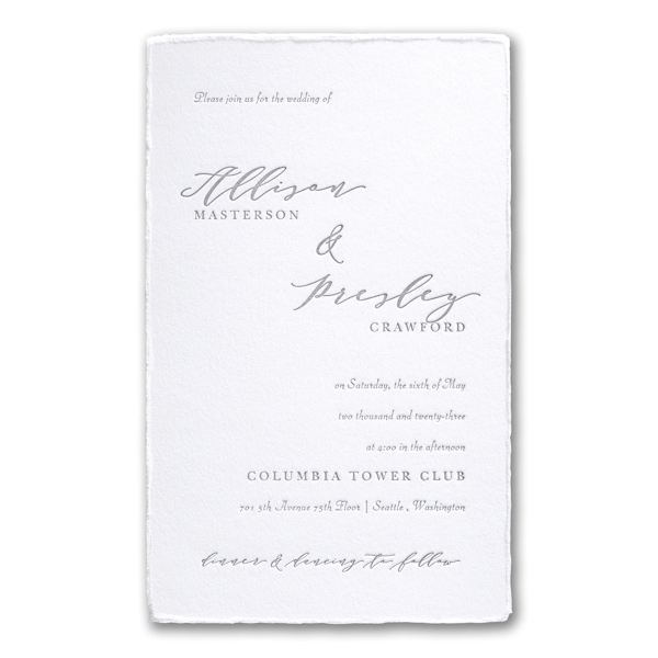 Feather Deckle in White Wedding Invitation