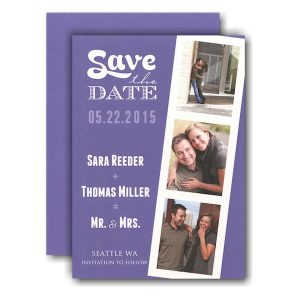 Film Strip Purple Photo Save the Date Card Icon
