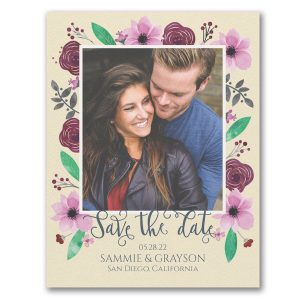 Floral Adoration Save the Date Card