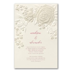 Floral Bouquet on Ecru Wedding Invitation
