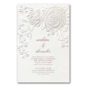 Floral Bouquet on White Wedding Invitation