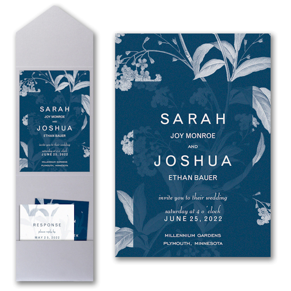 Floral Elegance Pocket Wedding Invitation