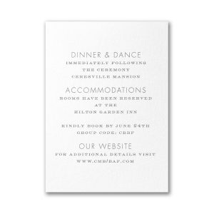 Floral Fancy in White Reception Card