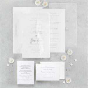 Floral Fancy in White Wedding Invitation alt