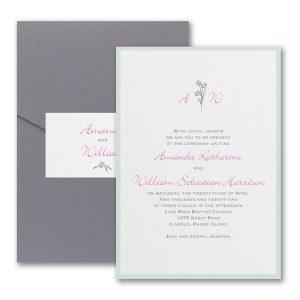 Floral Monogram Layered Pocket Wedding Invitation Icon