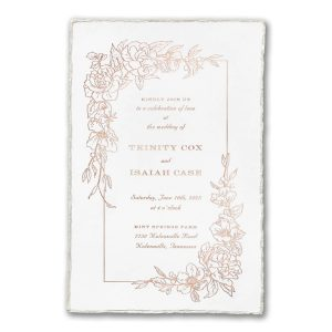 Floral Pearl Feather Deckle on White Wedding Invitation Icon