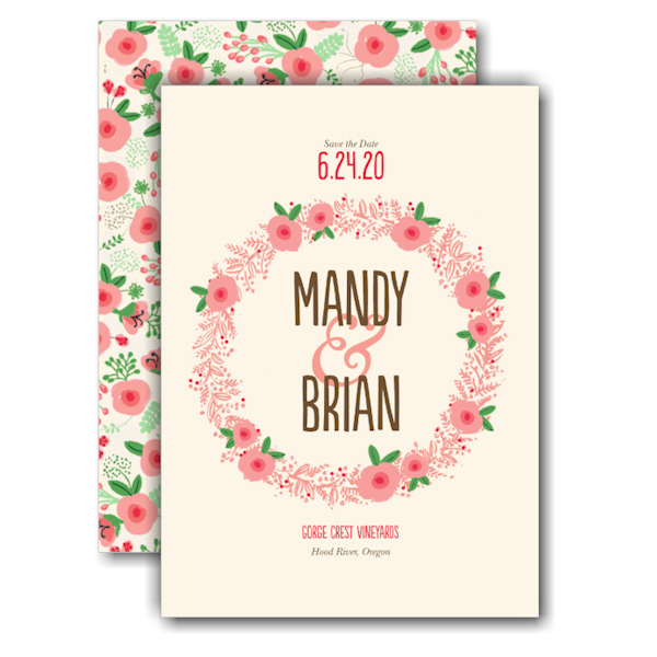 Floral Wreath Save the Date Card