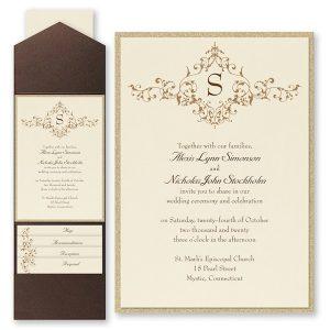 French Floret Layered Pocket Wedding Invitation