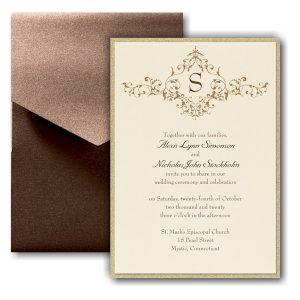 French Floret Layered Pocket Wedding Invitation Icon