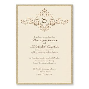 French Floret Layered Wedding Invitation Icon