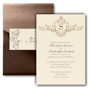 French Floret Pocket Wedding Invitation Icon
