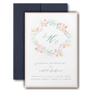 Fresh Monogram Layered Pocket Wedding Invitation Icon