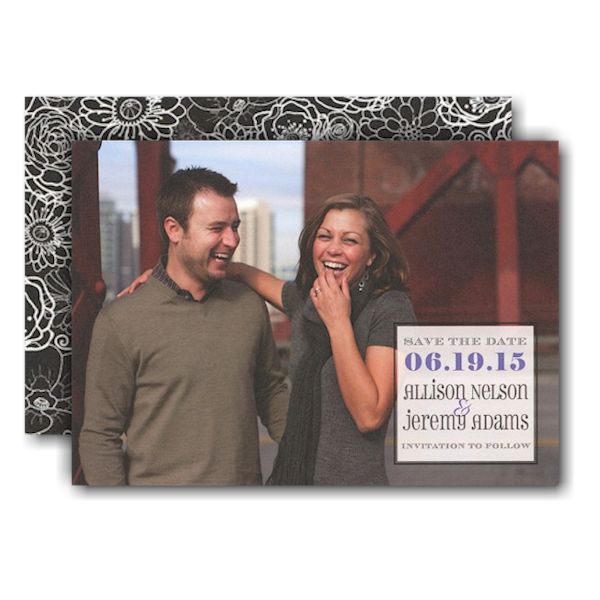 Full Photo Simple Box Save the Date Card
