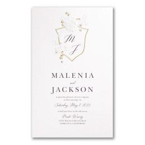 Garland Crest in White Wedding Invitation Icon