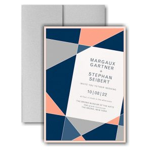 Geometric Color Block Layered Pocket Wedding Invitation Icon