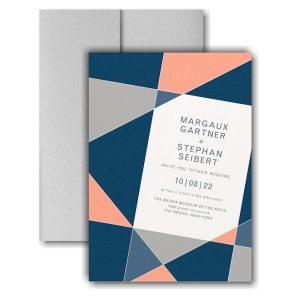 Geometric Color Block Pocket Wedding Invitation Icon