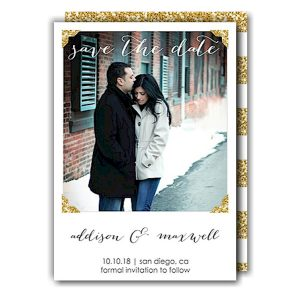 Glitter Photo Corners Save the Date Card Icon