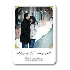 Glitter Photo Corners Save the Date Magnet Icon