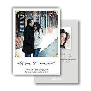 Glitter Photo Corners Text Save the Date Card Icon