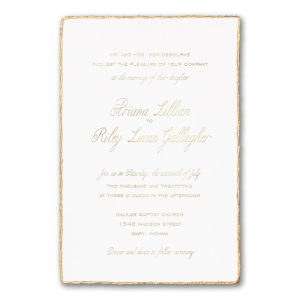 Gold Feather Deckle in White Wedding Invitation Icon