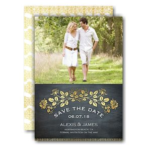 Gold Laurel Chalkboard Save the Date Card Icon