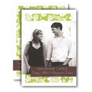 Green Pattern Coffee Tag Photo Save the Date Card Icon