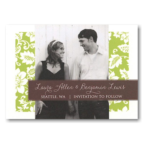 Green Pattern Modern Tag Save the Date Postcard