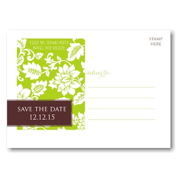Green Pattern Modern Tag Save the Date Postcard alt