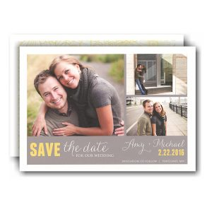 Grey Designer 3 Photo Layout Save the Date Card Icon