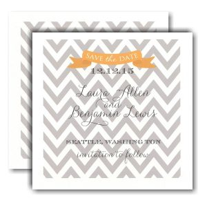 Grey Designer and Yellow Banner Save the Date Card Icon