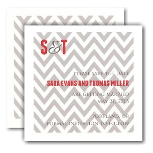 Grey Designer with Red Initials Save the Date Card Icon