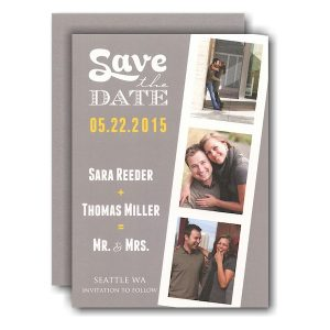 Grey Film Strip Photo Save the Date Card
