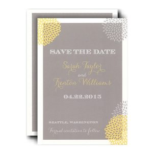 Grey and Yellow Mums Save the Date Card Icon